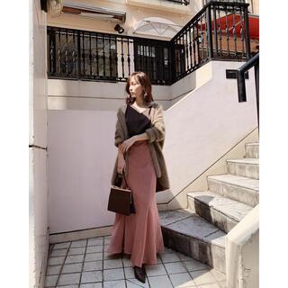 Noble - cachec マーメイドラインサテンスカート テラコッタ