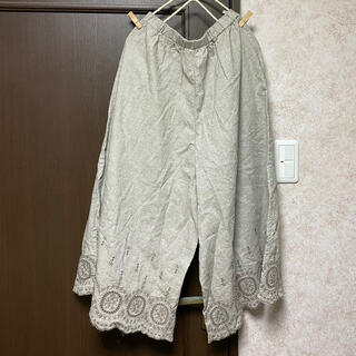 SM2 - 新品 綿麻裾スカラップパンツ ベージュ