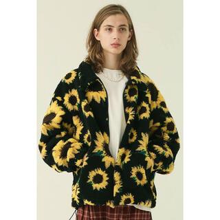 XLARGE - 新品 向日葵柄 ブルゾン ボアジャケット 黒 ファー ひまわり ブラック 黄色