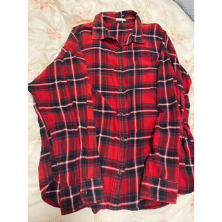 GU - GU赤チェックシャツ