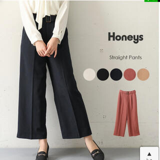 ハニーズ(HONEYS)の未使用☆ストレートワイドパンツ ブラック(カジュアルパンツ)