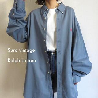 POLO RALPH LAUREN - 90s ラルフローレン 刺繍ロゴ シャツ くすみブルー 古着女子 vintage