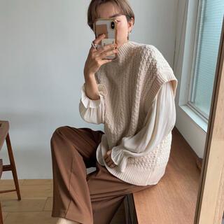 nokcha waffle knit vest ivory