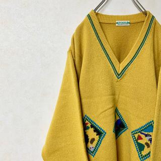 ニット セーター 90年代 ヴィンテージ レトロ 古着 ゴルフ Vネック 美品