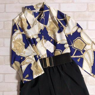 Santa Monica - 新品 ネイビー 白 ヨーロピアン スカーフ調 薄手 ヴィンテージ 柄シャツ