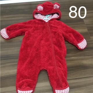 モコモコロンパース   カバーオール くま 赤 ジャンプスーツ 80cm (カバーオール)