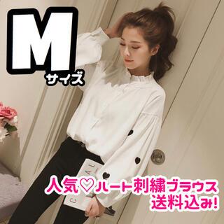 人気 M 韓国 白 フリルネック ハイネック ハート 刺繍 ブラウス オシャレ(シャツ/ブラウス(長袖/七分))