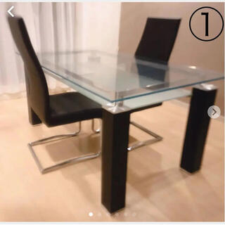 ニトリ(ニトリ)の【即決可】おしゃれ!ガラスダイニングテーブル3点セット【ニトリ】(ダイニングテーブル)