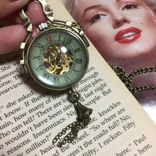 スケルトン 機械式 アンティーク調 懐中時計 手巻き 真鍮  レトロ