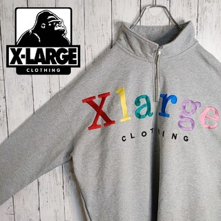 XLARGE - 【エクストララージ】【マルチカラー刺繍】【ビッグサイズ】ハーフジップトレーナー