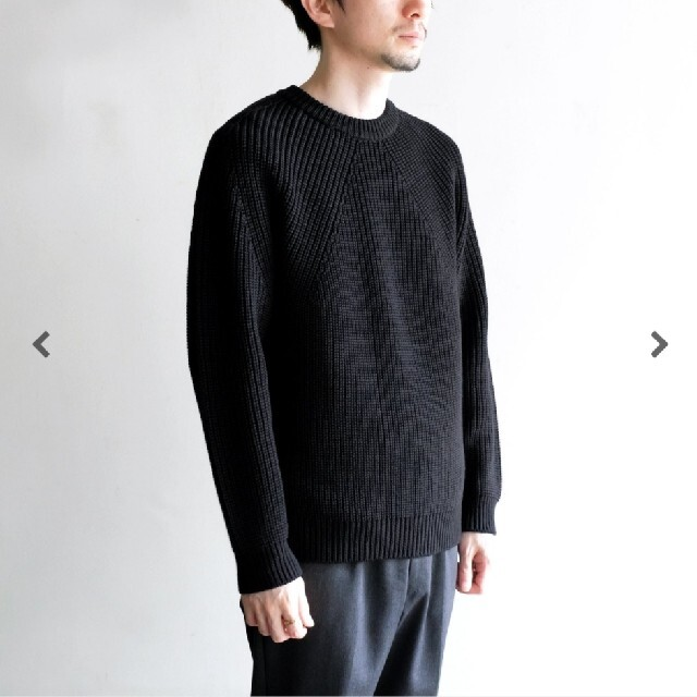 COMOLI(コモリ)のBATONER 20aw signature crew neck black メンズのトップス(ニット/セーター)の商品写真