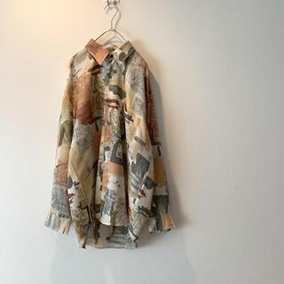 ART VINTAGE - 【美品】古着 総柄 柄シャツ ポリシャツ アートヴィンテージ