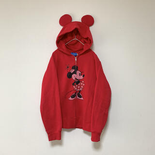 Disney - 【美品】ディズニー ミニーマウス パーカー 耳付き 赤 フルジップパーカー