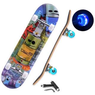 【新品セットA】スケボー コンプリート31インチ【T字型工具+光るウィール付き】(スケートボード)