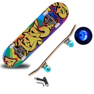 【新品セットB】スケボー コンプリート31インチ【T字型工具+光るウィール付き】(スケートボード)