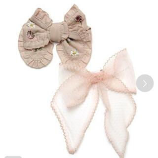 PINK HOUSE - ピンクハウス ♡花刺繍チュチュチュールリボンブローチ2個セット!再入荷