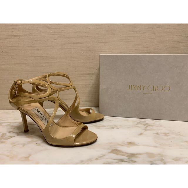 JIMMY CHOO(ジミーチュウ)のjimmy choo patent leather nudesハイヒールサンダル レディースの靴/シューズ(ハイヒール/パンプス)の商品写真