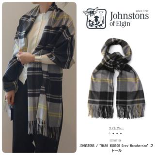ジョンストンズ(Johnstons)の国内正規 新品 ジョンストンズ 大判カシミヤストール チェック(ストール/パシュミナ)