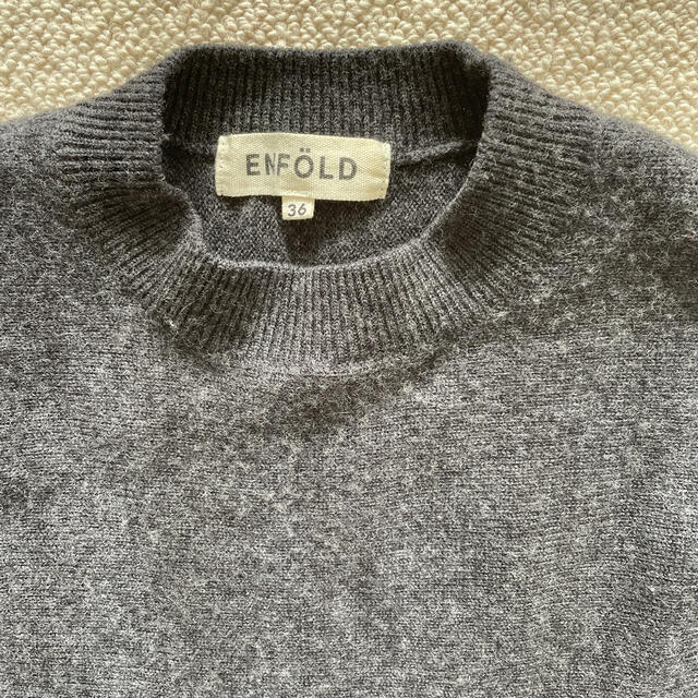 ENFOLD(エンフォルド)のenfoldダークグレーセーターワンピース レディースのワンピース(ひざ丈ワンピース)の商品写真