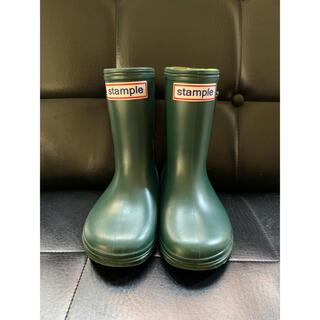 美品stample長靴 レインブーツ キッズ スタンプル緑