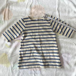 MUJI (無印良品) - 無印良品 袖が短めのカットソー 80サイズ