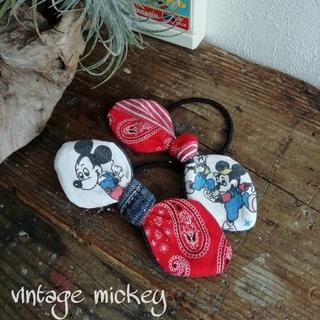 handmade : vintage mickey ×ヘアゴム 2個セット①