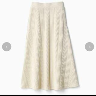 シマムラ(しまむら)の新品 ディアフル ニットスカート しまむら LL プチプラのあや 中白 ホワイト(ロングスカート)
