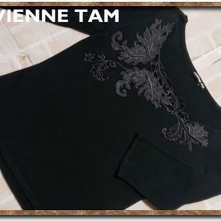 ヴィヴィアンタム(VIVIENNE TAM)のヴィヴィアンタム 刺繍入り7分袖カットソー 黒(カットソー(長袖/七分))