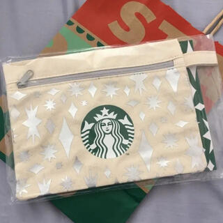 Starbucks Coffee - スターバックス ポーチ ホリデー クリスマス スタバ キャンバスポーチ シルバー