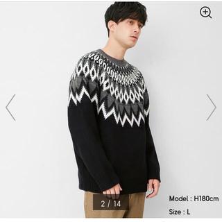 GU - GU L ローゲージセーター ブラック ノルディック