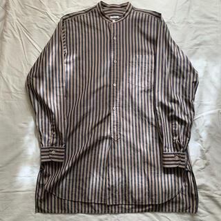 COMOLI - COMOLI バンドカラーシャツ ロンドンストライプ ブラウン 1