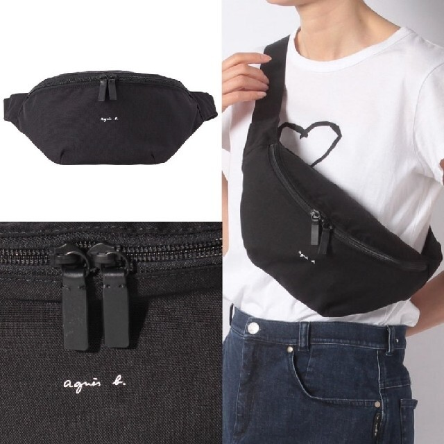 agnes b.(アニエスベー)のアニエスベー Agnes b ボディバッグ レディース  ブラック ウエストポー レディースのバッグ(ボディバッグ/ウエストポーチ)の商品写真