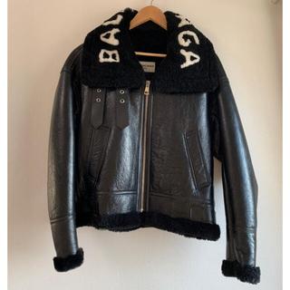Balenciaga - 【BALENCIAGA】シアリング&レザージャケット ライダースジャケット 46