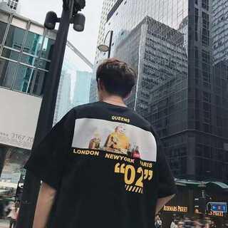 Tシャツ バックプリント オーバーサイズ ルーズ 肩落ち 男女兼用 ブラック(カード/レター/ラッピング)