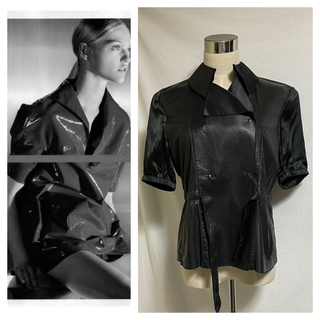 プラダ(PRADA)の本物 美品 プラダ レザー切替 半袖 ジャケット 黒36 PRADA SPORT(テーラードジャケット)