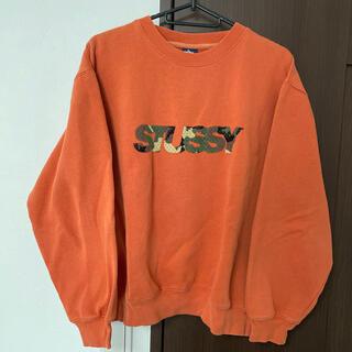 ステューシー(STUSSY)のstussy ステューシー トレーナー オレンジ 迷彩 ロゴ(トレーナー/スウェット)