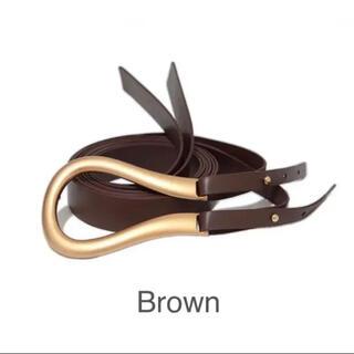Ameri VINTAGE - ブラウン Brown×Gold 馬蹄 U型 バックルベルト