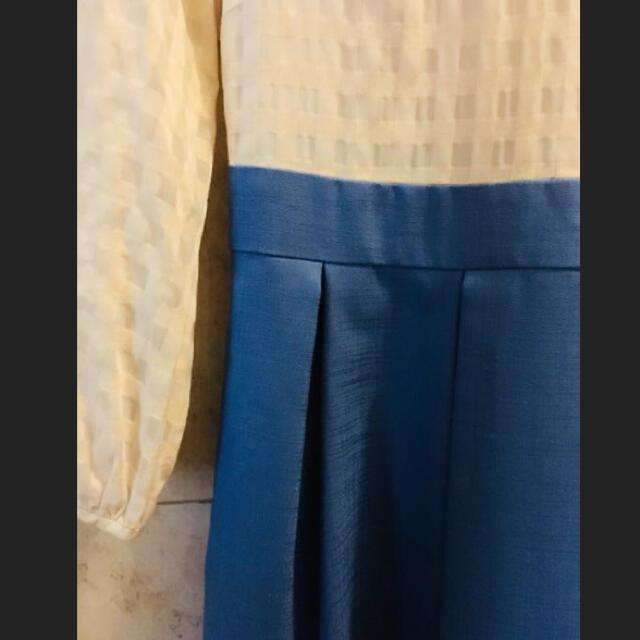 anatelier(アナトリエ)のアナトリエ 切り替えワンピース ホワイト×ブルー レディースのワンピース(ひざ丈ワンピース)の商品写真