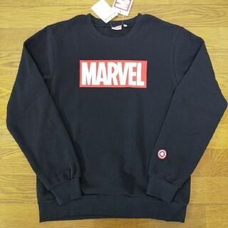 マーベル(MARVEL)の160cm  新品  マーベル ロゴ 裏起毛トレーナー 黒(Tシャツ/カットソー)