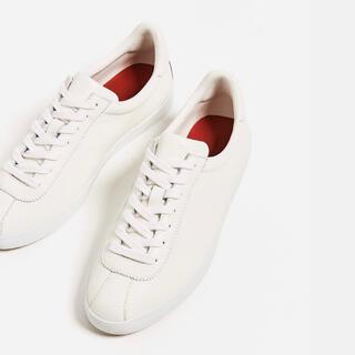 ZARA - ザラ リアルレザースニーカー 白 本皮 シューズ ホワイト 25cm 39 革靴