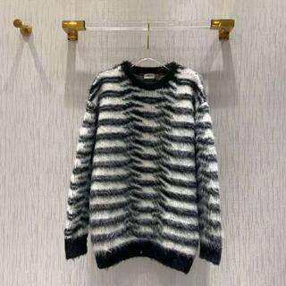 celine - CELINE   シーホースヘアー黒と白のストライプセーター