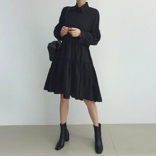 ZARA - 【実物】新品 ティアード シャツ ワンピース ドレス ミディ丈 膝丈