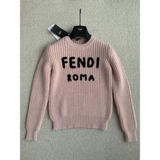 FENDI - FENDI ピンク ウール ロゴ 長袖 セーター