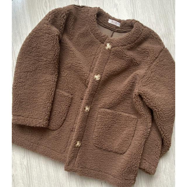 blate ノーカラー ボアコート モカブラウン レディースのジャケット/アウター(ノーカラージャケット)の商品写真