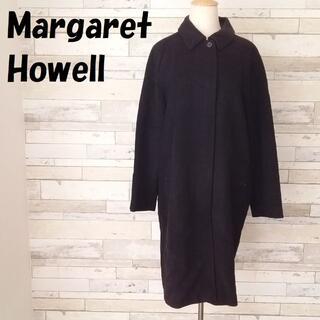 マーガレットハウエル(MARGARET HOWELL)の【人気】マーガレットハウエル ウール比翼ステンカラーコート サイズⅡ レディース(ロングコート)