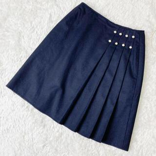 ルネ(René)の美品 ルネ 上質ウールスカート カシミヤ混 サイズ36 ネイビー(ひざ丈スカート)