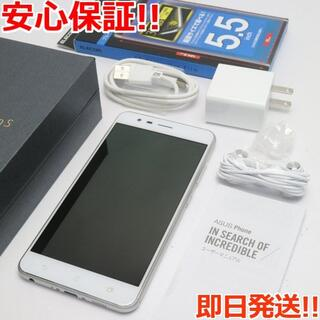 エイスース(ASUS)の美品 SIMフリー ZenFone Zoom S シルバー 白ロム (スマートフォン本体)