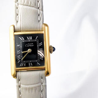 カルティエ(Cartier)の【OH済】カルティエ タンク 黒ローマン SM ゴールド レディース 腕時計(腕時計)