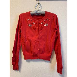 ミッシュマッシュ(MISCH MASCH)の赤カーディガン ビジュー装飾(カーディガン)