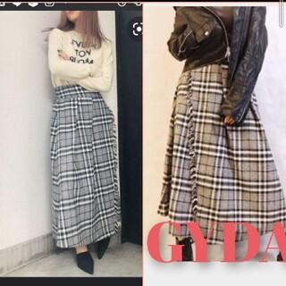 ジェイダ(GYDA)のGYDA♡チェックフリンジロングスカート 新品(ロングスカート)